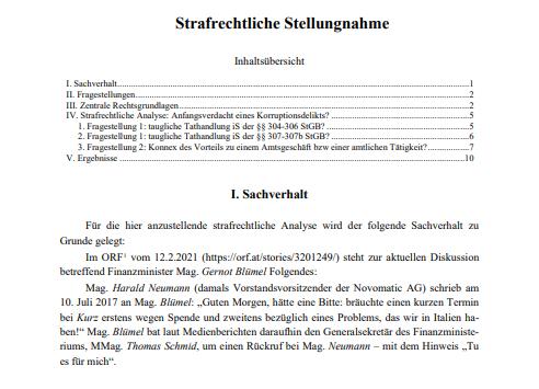 Strafrechtliche Stellungnahme zur Hausdurchsuchung Blümel