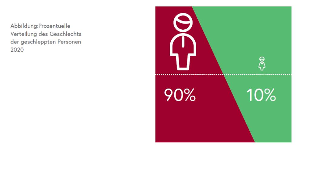 Abbildung: Prozentuelle Verteilung des Geschlechts der geschleppten Personen 2020/BMI