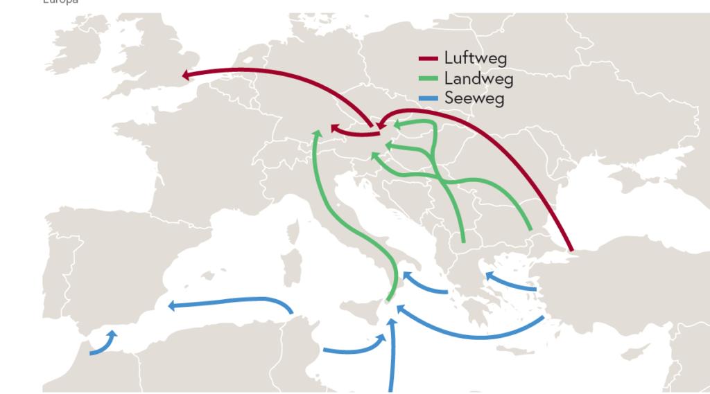 Abbildung: Schlepperrouten nach Europa/BMI