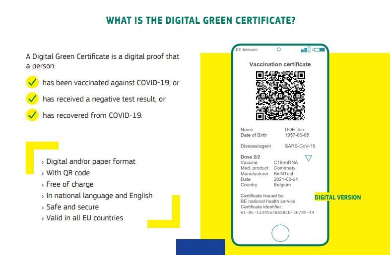 """Musterdarstellung des """"Grünen Pass"""" der EU-Kommission. Screenshot: Kommission, Digital Green Certificate"""