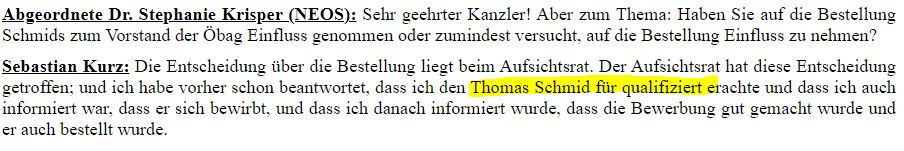 Kurz hält Schmid für qualifiziert, das antwortete er Stephanie Krisper schon im Juni 2020.