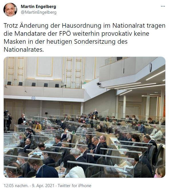 FPÖ-Abgeordnete folgen Herbert Kickl und lehnen die Maskenpflicht im Parlament weiterhin ab. Screenshot: Twitter @MartinEngelberg