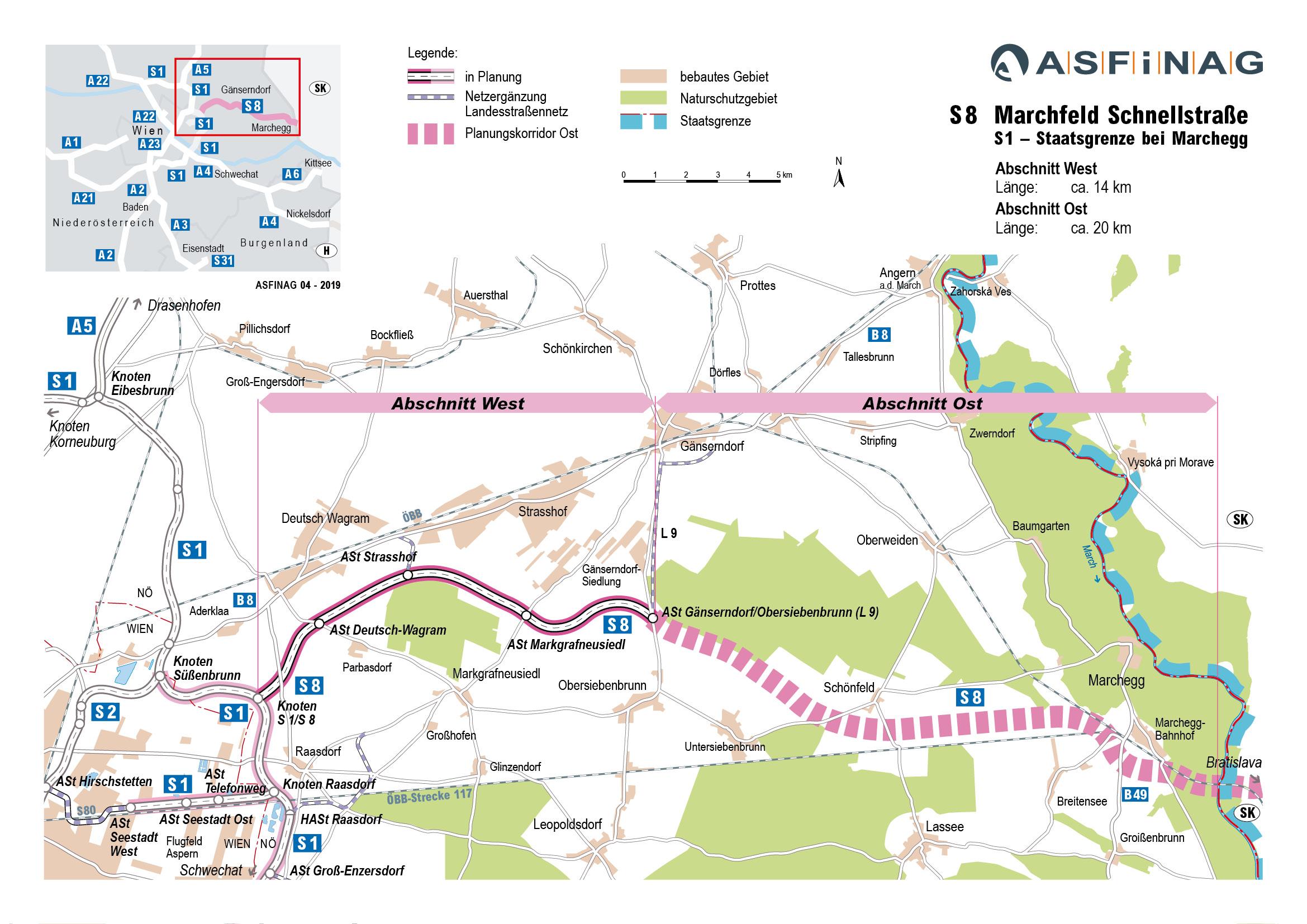 Geplanter Verlauf der S8; Grafik: ASFINAG