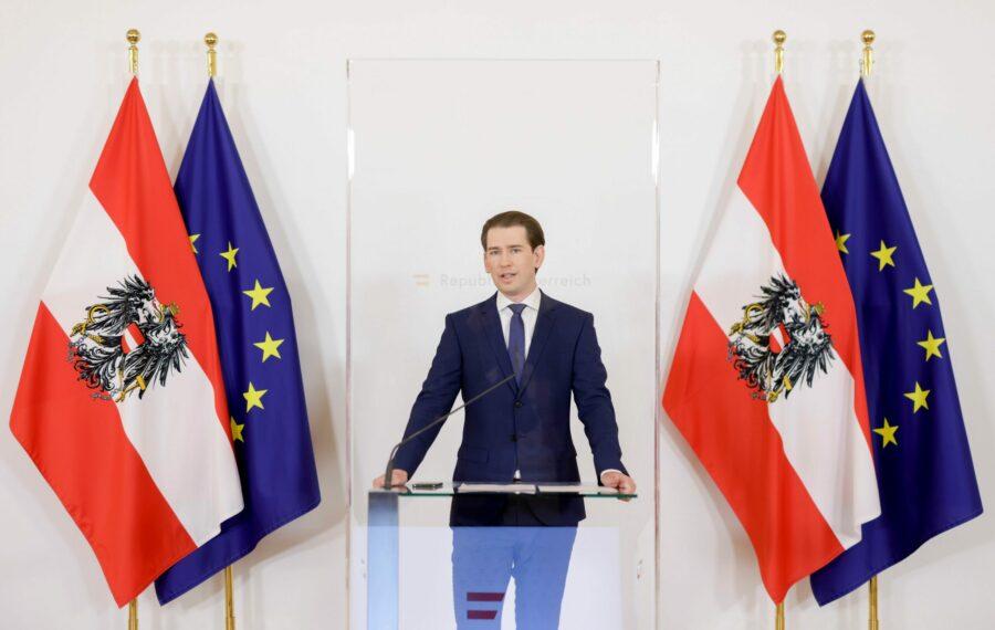 Bundeskanzler Sebastian Kurz bei seiner Erklärung vor den Medien. Foto: BKA/ Andy Wenzel