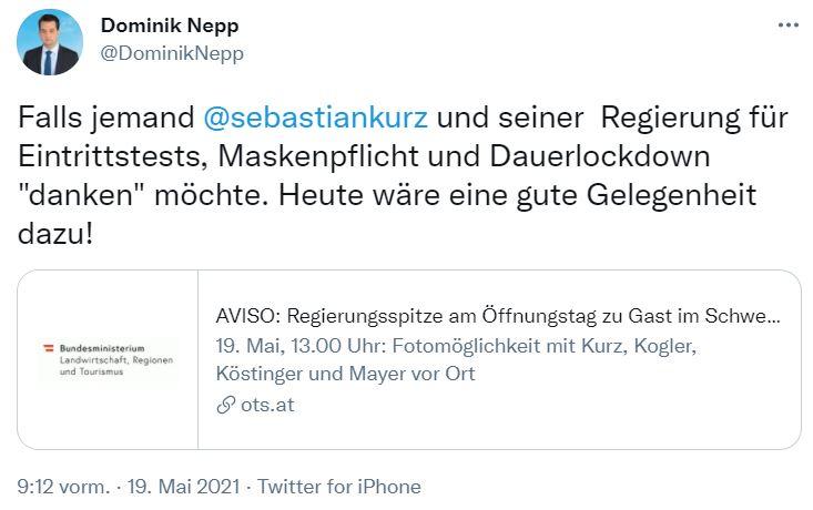 Der Wiener-FPÖ-Chef macht auf Twitter auf die Veranstaltung im Schweizerhaus aufmerksam. Screenshot: Twitter @DominikNepp