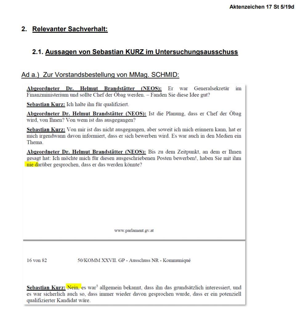 """Screenshot aus der Mitteilung der Staatsanwaltschaft. Relevant sind das """"Nie"""" in der Frage und das """"Nein"""" in der Antwort des Bundeskanzlers."""