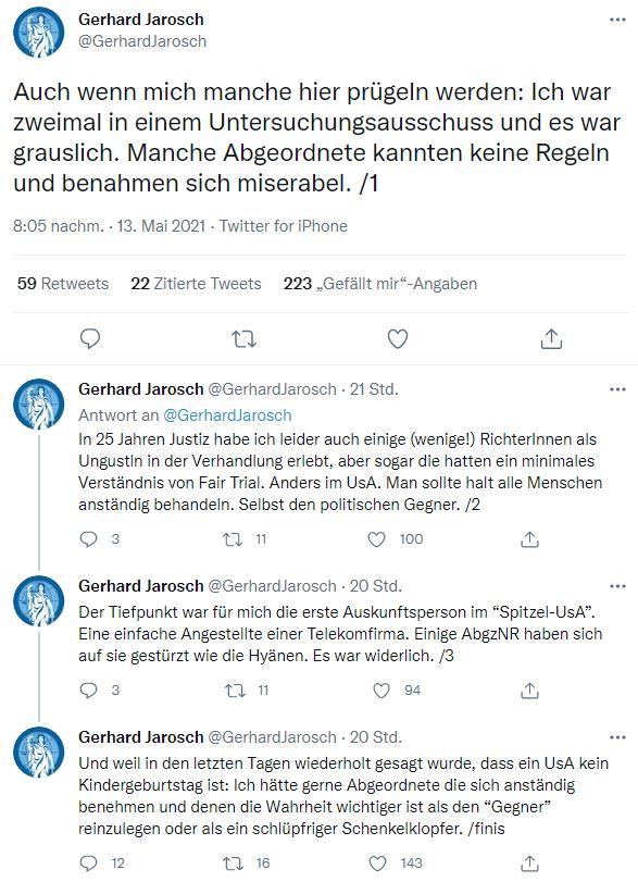 Der erfahrene Staatsanwalt beschreibt, warum es durchaus Unterschiede zwischen der Befragung vor einem U-Ausschuss und einem Gericht gibt. Screenshot: Twitter, @Gerhard Jarosch