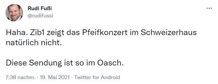 Der ehemalige Kern-Begleiter Rudi Fussi beklagt, dass es der verurteilte Neonazi Küssel nicht in die Hauptnachtrichten geschafft hat. Screenshot: Twitter @rudifussi