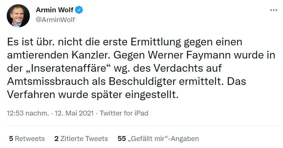 ZIB-2 Anchorman Armin Wolf erinnert per Twitter daran, dass bereits in der Vergangenheit gegen Bundeskanzler ermittelt wurde. Screenshot: Twitter @ArminWolf