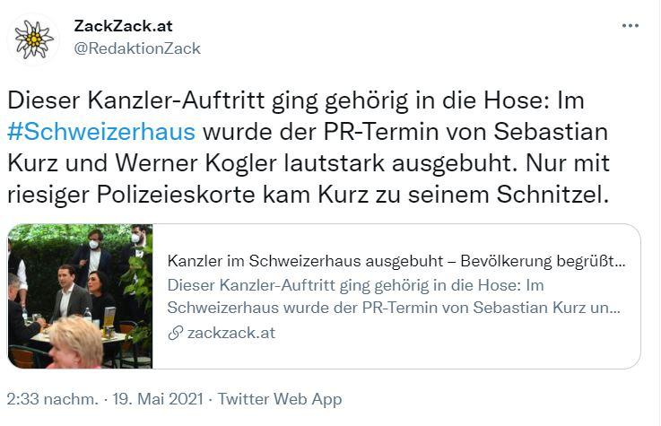Auf Twitter verbreitet ZackZack eine Meldung zu den Buhrufen. Die Polizeieskorte wird kritisch erwähnt. Screenshot: Twitter @RedaktionZack