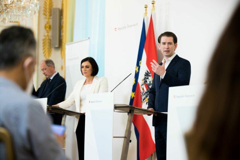 Bundeskanzler Kurz bei der Vorstellung, wie Österreich weiter öffnet. Foto: BKA/ Christoph Dunker