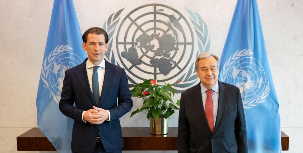 Sebastian Kurz und Antonio Guterres. Foto: BKA/Arno Melicharek