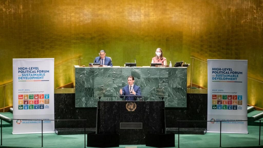 Bundeskanzler Kurz vor dem Wirtschafts- und Sozialrat der UNO. Foto: Arno Melicharek