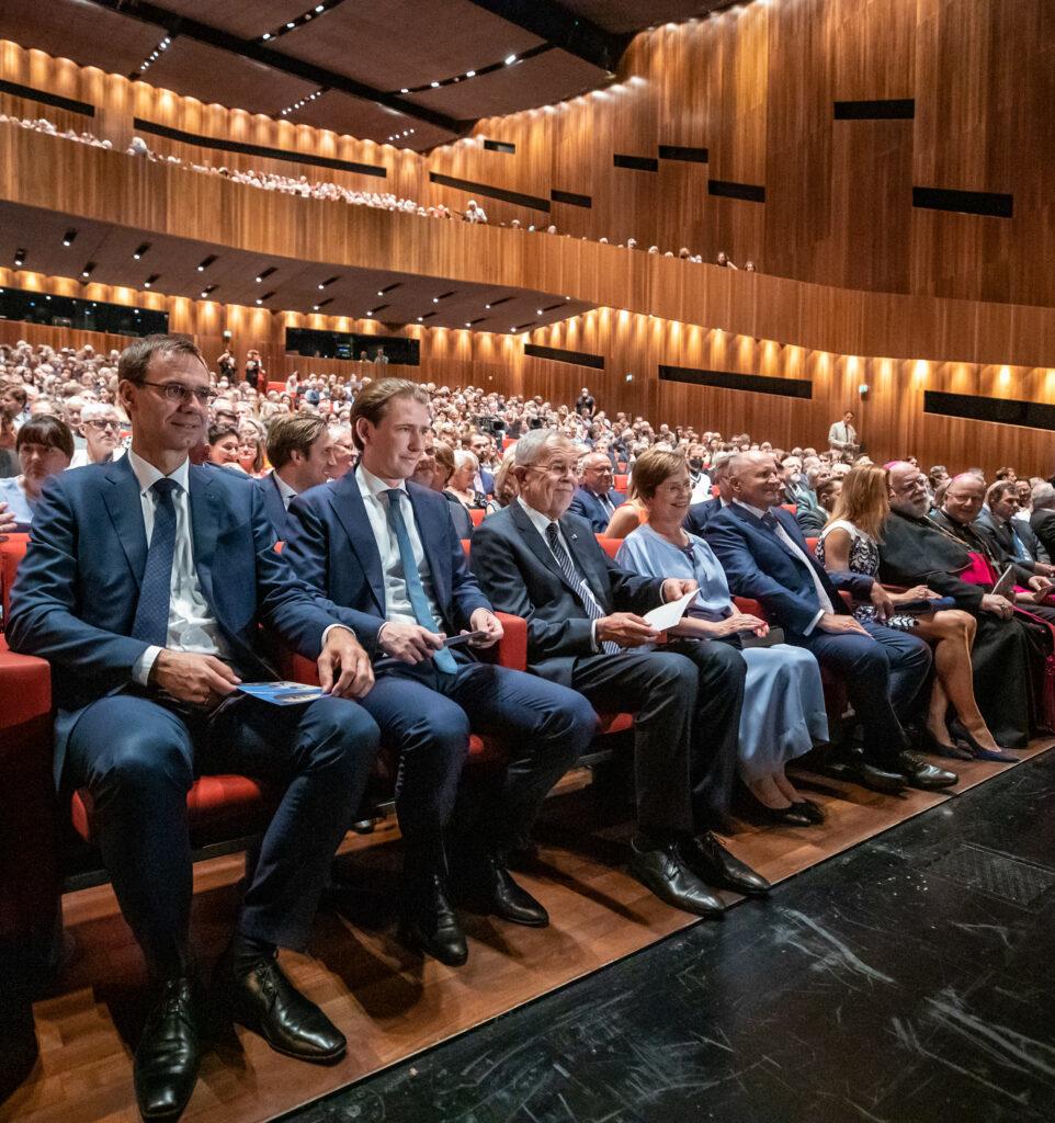 V.l.n.r.: Landeshauptmann Markus Wallner, Bundeskanzler Sebastian Kurz, Bundespräsident Alexander Van der Bellen Foto: Arno Melicharek