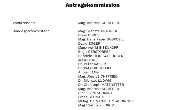 Screenshot: Auszug aus der SPÖ-Antragskommission