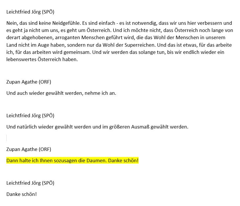 Screenshot/Transkript OE1 Morgenjournal/Zur-Sache