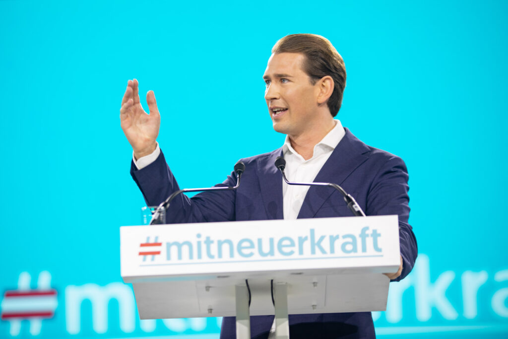 Sebastian Kurz bei seiner Rede am Bundesparteitag der Volkspartei. Foto: Glaser