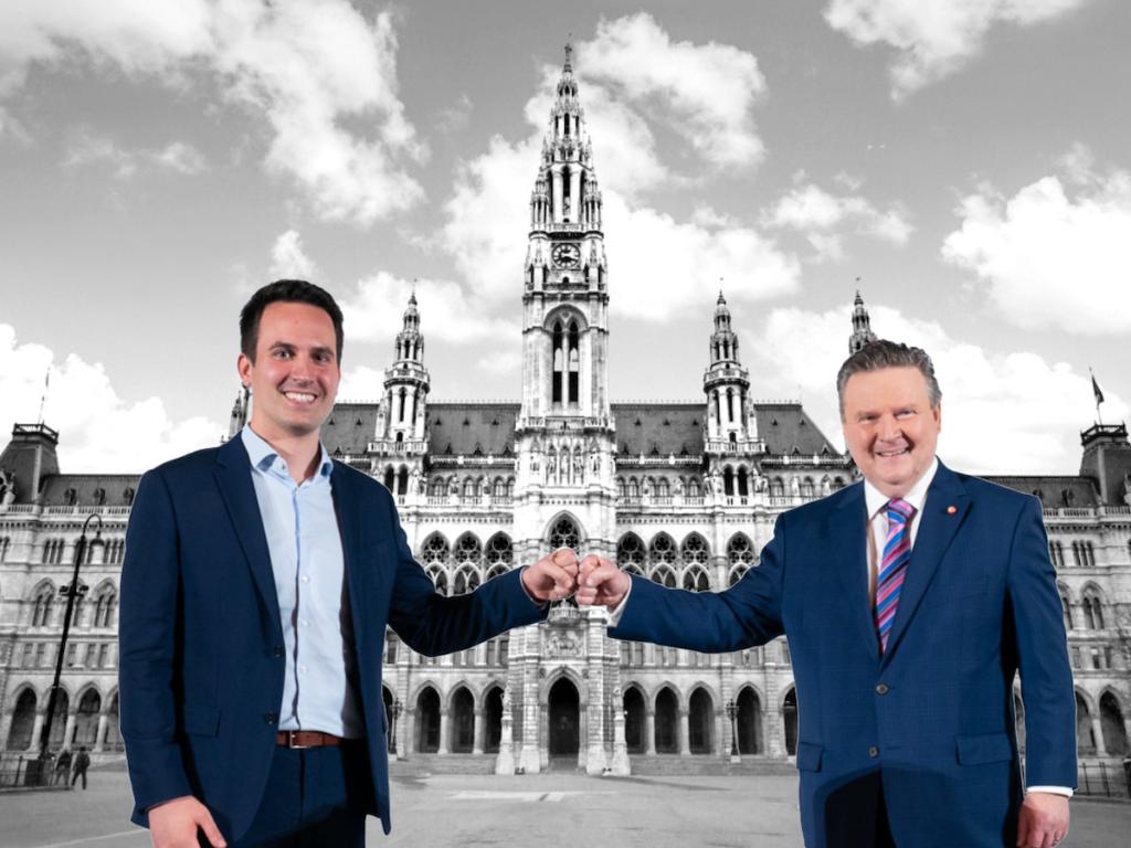 v.l.: Christoph Wiederkehr (NEOS) & Bürgermeister Michael Ludwig (SPÖ - Foto: Fotos: wien.gv.at; iStock.com/ Gim42)