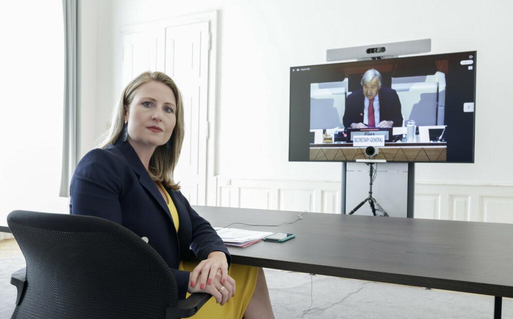 Frauenministerin Susanne Raab vertrat am 13. September 2021 Österreich bei UN-Geberkonferenz für Afghanistan. Foto: Andreas Wenzel, Bka