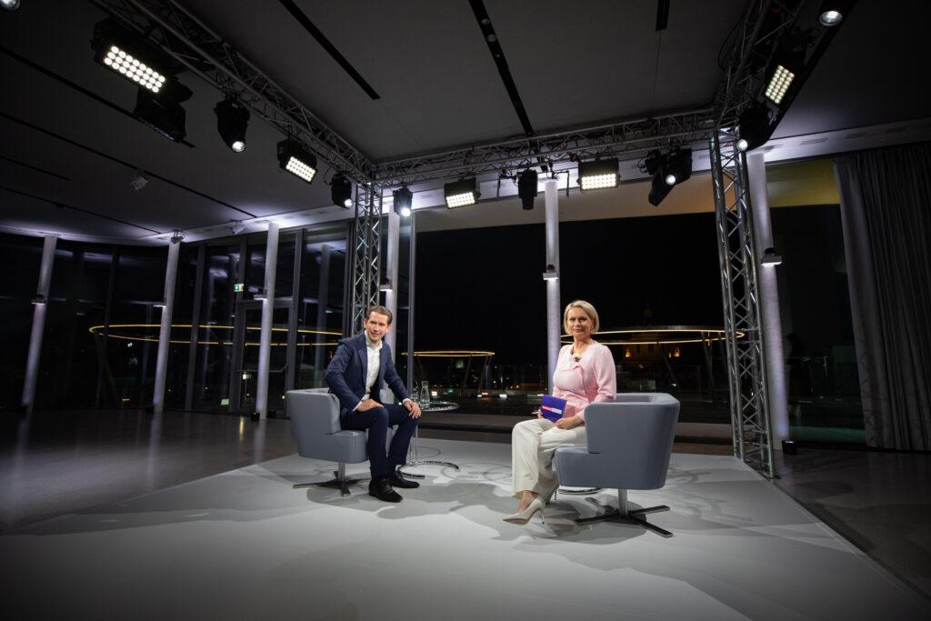 Bundeskanzler Sebastian Kurz beim ORF-Sommergespräch. - Foto: Jakob Glaser