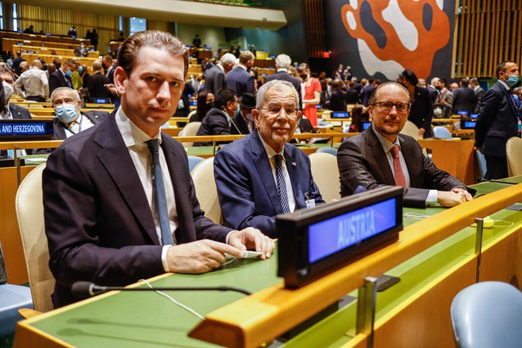 Österreich bei der UNO gut vertreten: Bundeskanzler Kurz, Bundespräsident Van der Bellen, Bundesminister Schallenberg in New York. Foto: BKA, Dragan Tatic