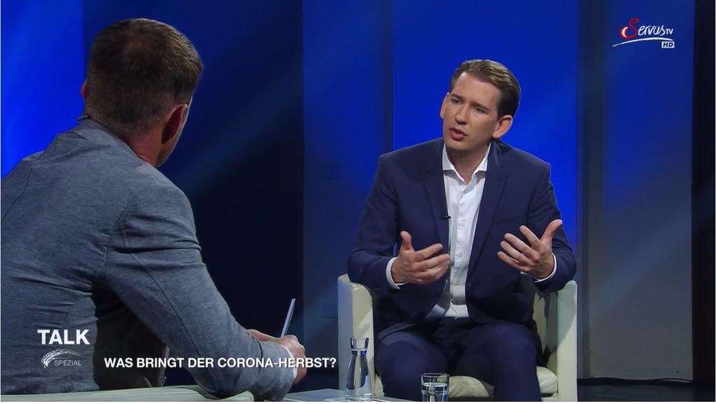 """""""Die Impfung ist die Antwort, nicht der Lockdown"""", so Kanzler Kurz. - Screenshot: ServusTV"""