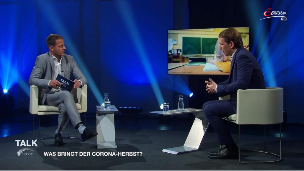 Bundeskanzler Kurz lehnt eine Impfpflicht klar ab. Screenshot: ServusTV