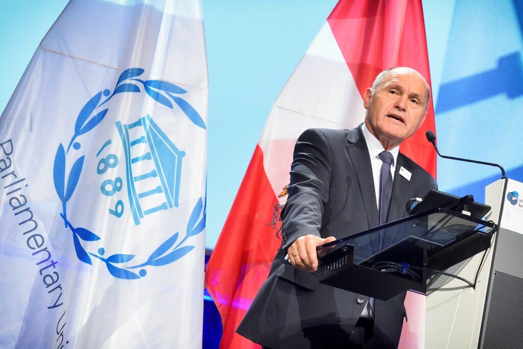 Der Präsident des Parlaments, Wolfgang Sobotka, eröffnet am Dienstag in Wien die Weltkonferenz der ParlamentspräsidentInnen. Foto: Fotos © Parlamentsdirektion/Johannes Zinner