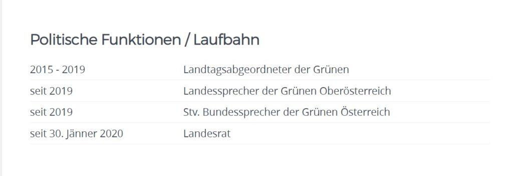 Auf Kaineders Website als Landesrat wird das Nationalratsmandat verschwiegen. - Screenshot: https://www.land-oberoesterreich.gv.at/229774.htm