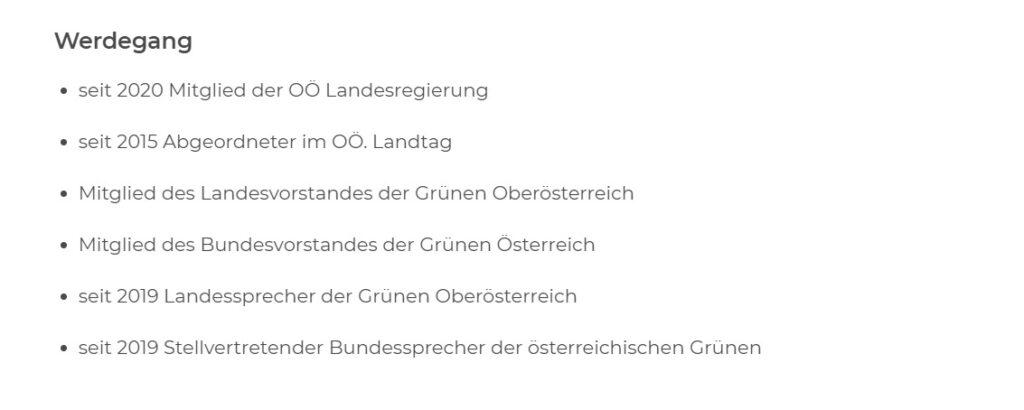 Auf Kaineders persönlicher Website wird das Nationalratsmandat verschwiegen. - Screenshot: https://www.stefan-kaineder.at/