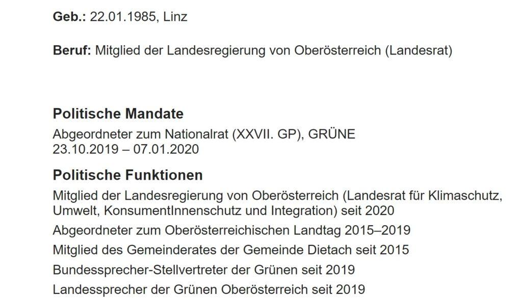 Auf der Homepage des Parlaments wird suggeriert, als ob Kaineder bereits 2019 aus dem Landtag ausgeschieden ist. Das stimmt so aber nicht. - Screenshot: https://www.parlament.gv.at/WWER/PAD_05669/index.shtml