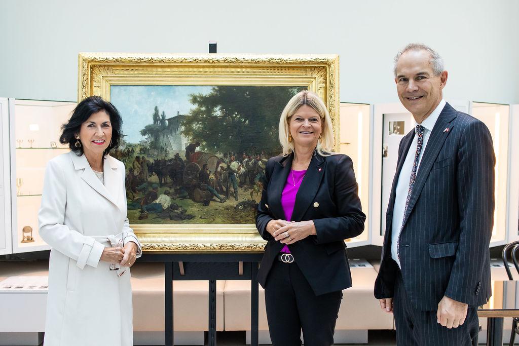 Direktorin Danielle Spera, Bundesministerin Klaudia Tanner, Botschafter Leigh Turner; Foto: JMW