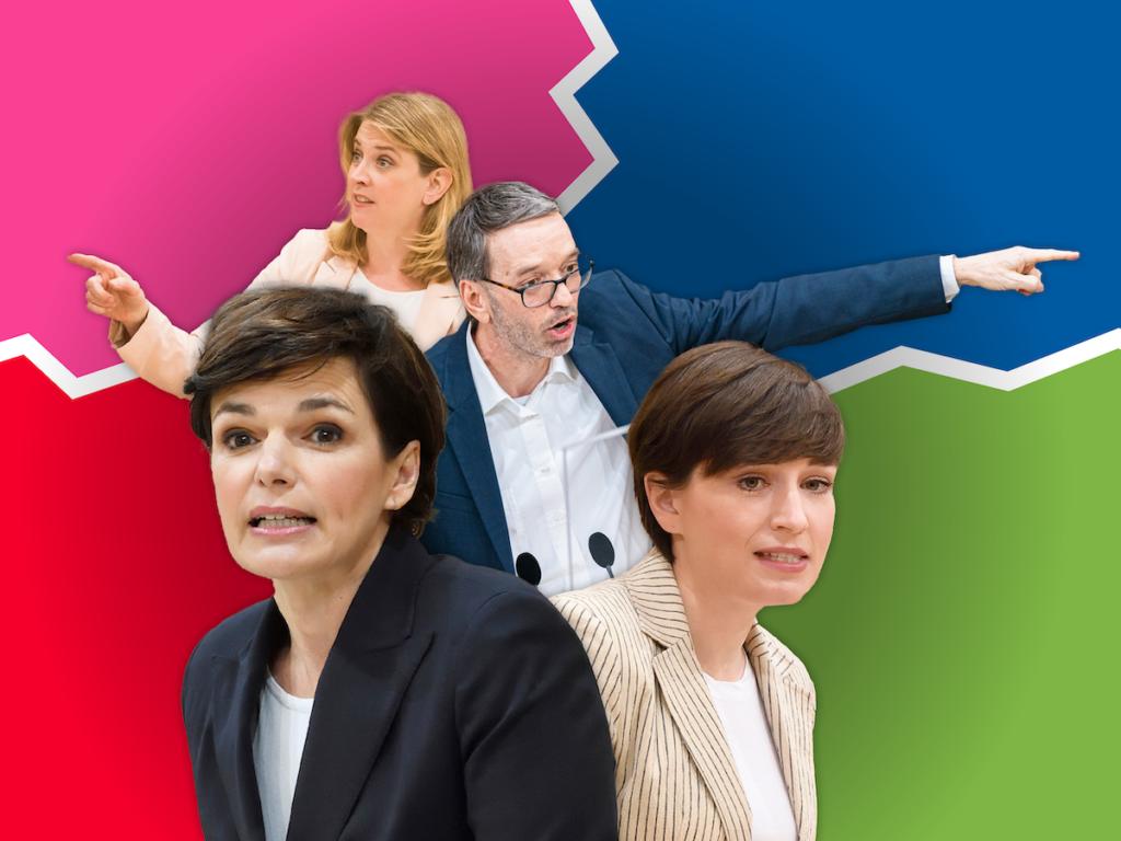 Die SPÖ ist bereit für eine Koalition mit der FPÖ von Herbert Kickl. Dabei könnten die beiden auf die Unterstützung von Grün und NEOS bauen. - Fotos: Parlamentsdirektion/ Johannes Zinner; Parlamentsdirektion/ Thomas Jantzen; Florian Schrötter