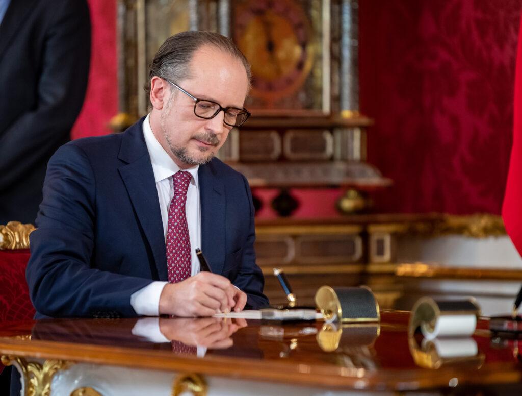 Angelobt: Bundeskanzler Alexander Schallenberg; Foto: Arno Melicharek
