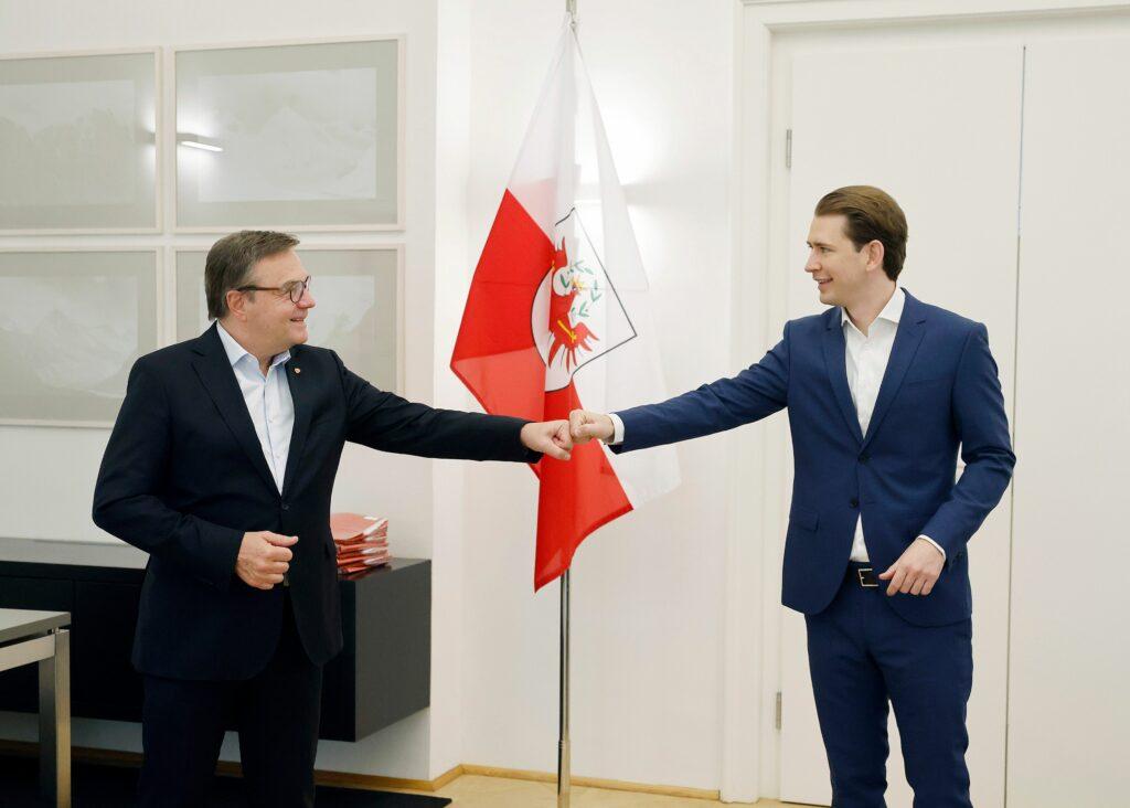 Die ÖVP-Landesparteiobleute unterstützen Bundeskanzler Sebastian Kurz auch in Zukunft - Foto: Bundeskanzler Kurz bei Tirols LH Günther Platter auf Besuch. - Dragan Tatic