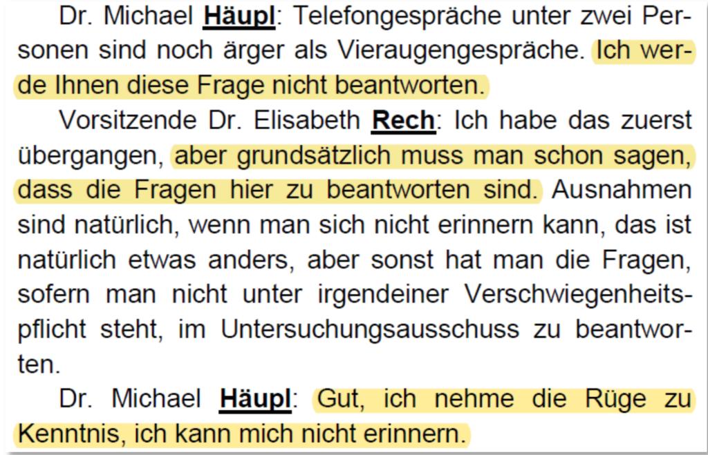 Screenshot Aussagen Michael Häupl in der Untersuchungskommission zum Krankenhaus Nord, 26.3.19 / Seite 31