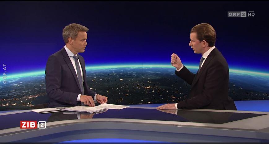 Bundeskanzler Sebastian Kurz klärt im Interview mit Matin Thür die Vorwürfe auf. Foto: Screenshot/ZiB2